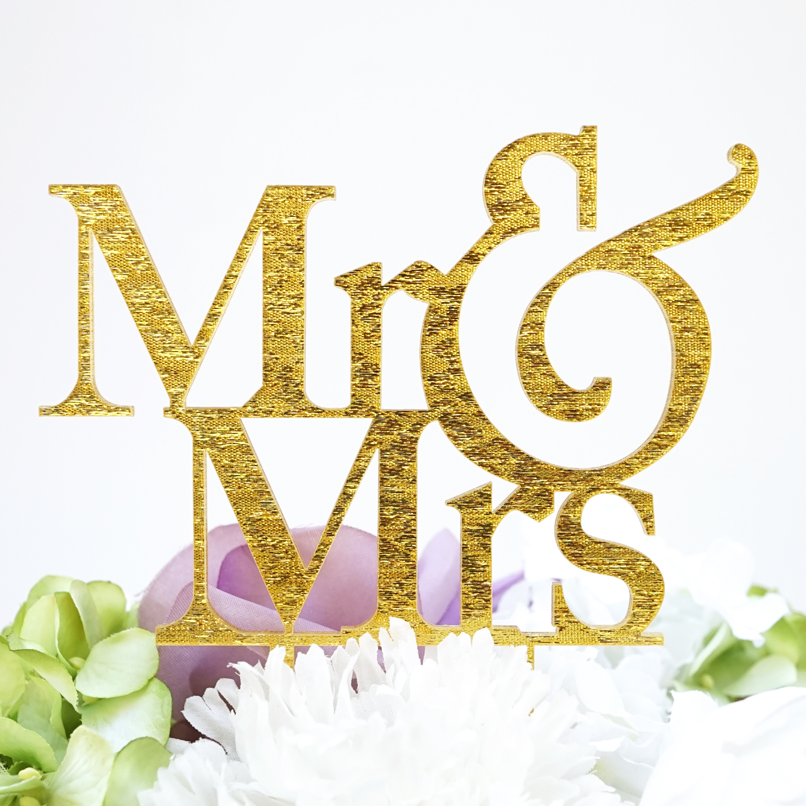 "Mr & Mrs"" Silhouette Wedding Cake Topper Pick 